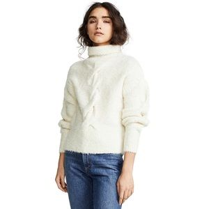 Theory Mohair Cableknit Turtleneck Sweater Ivory